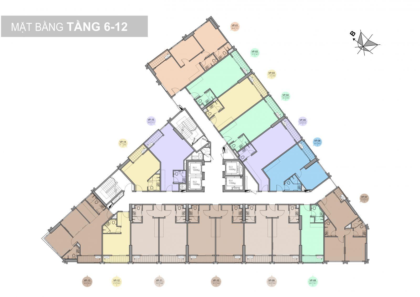 mặt bằng tầng 6-12