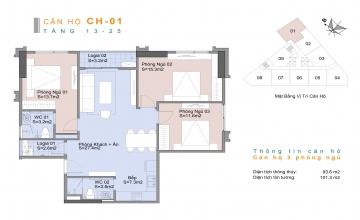 Thiết kế căn hộ 03 phòng ngủ Trinity Tower