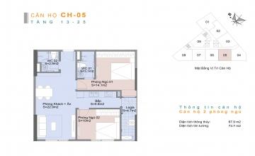 Thiết kế căn hộ 02 phòng ngủ Trinity Tower